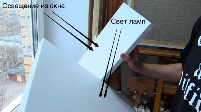сравнение освещения от ламп и от окна при работе художника