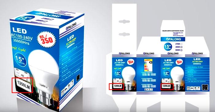 световой поток в люменах на упаковке лампочки