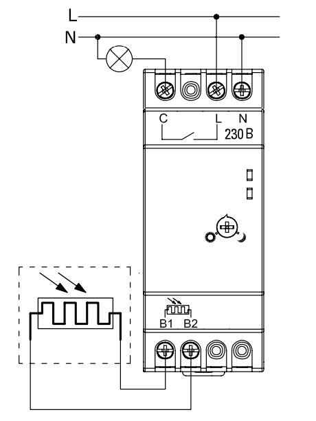 схема подключения фотореле и датчика света через выносной датчик