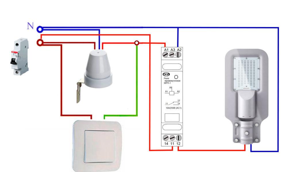 схема подключения датчика света день ночь через промежуточное реле для обратной работы