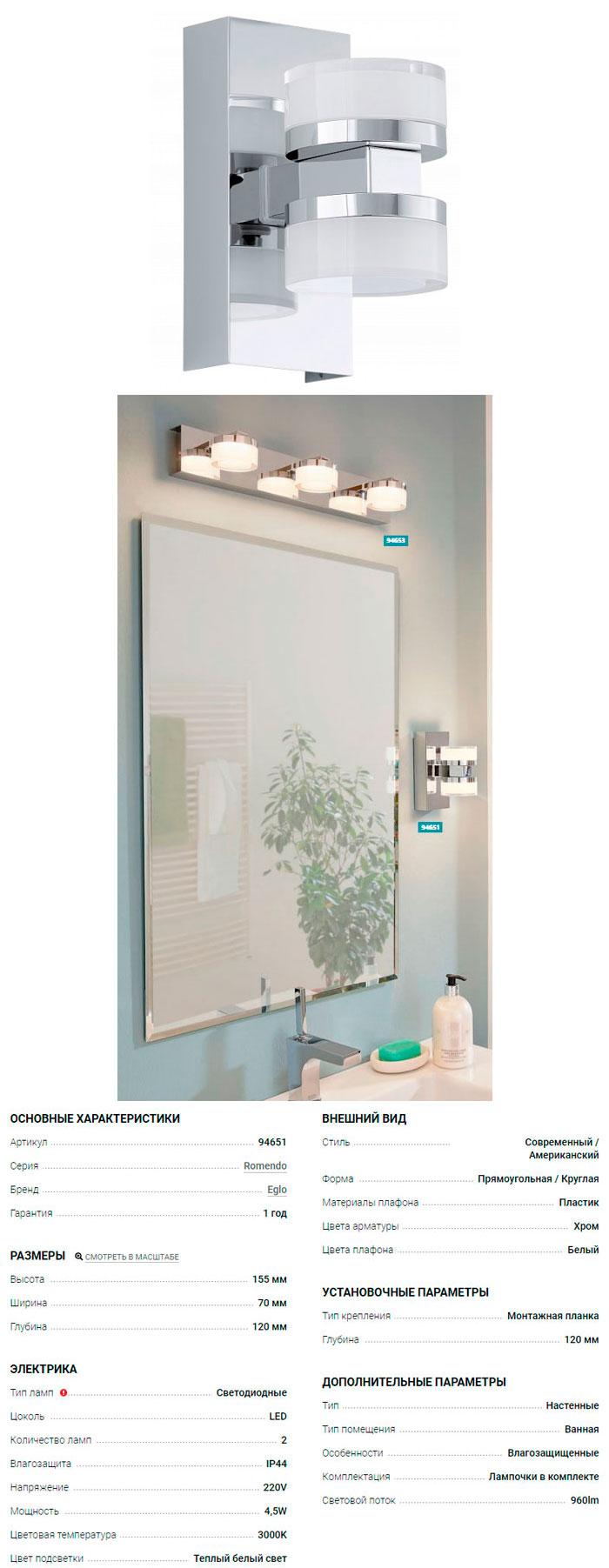 настенный светильник для ванны