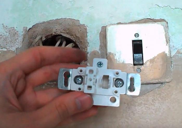 разюор и подключение одноклавишного выключателя света