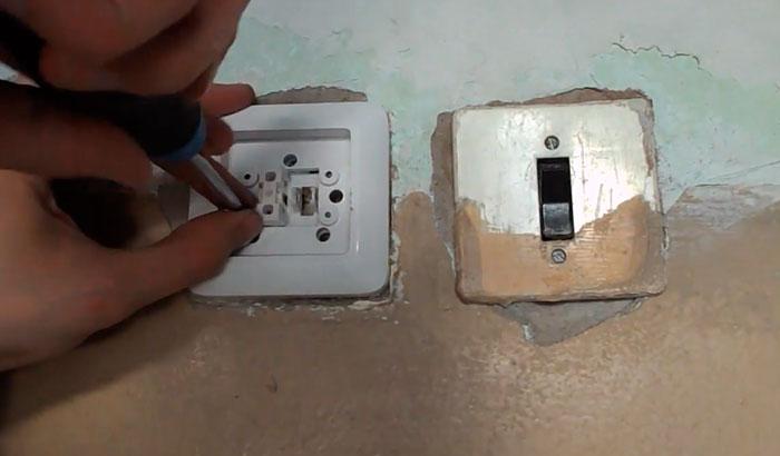 крепление выключателя света в распредкоробке