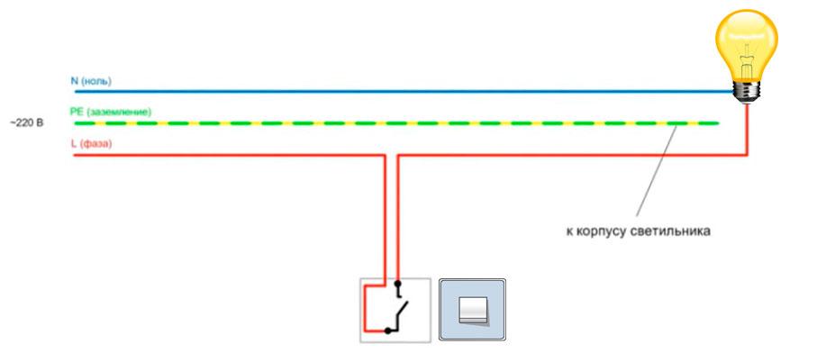 простейшая схема объясняющая подключение одноклавишного выключателя света