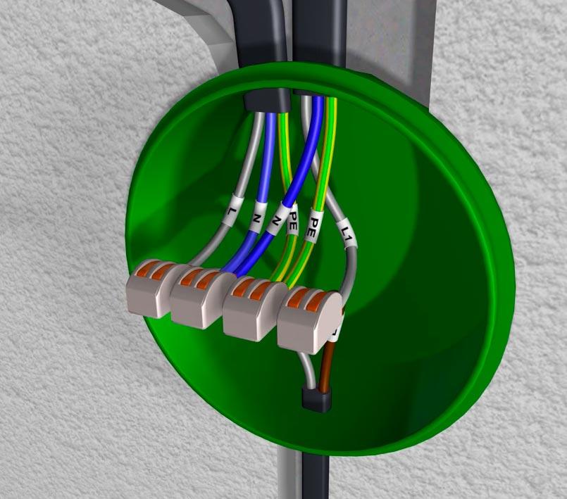 схема подключения одноклавишного выключателя в распредкоробке