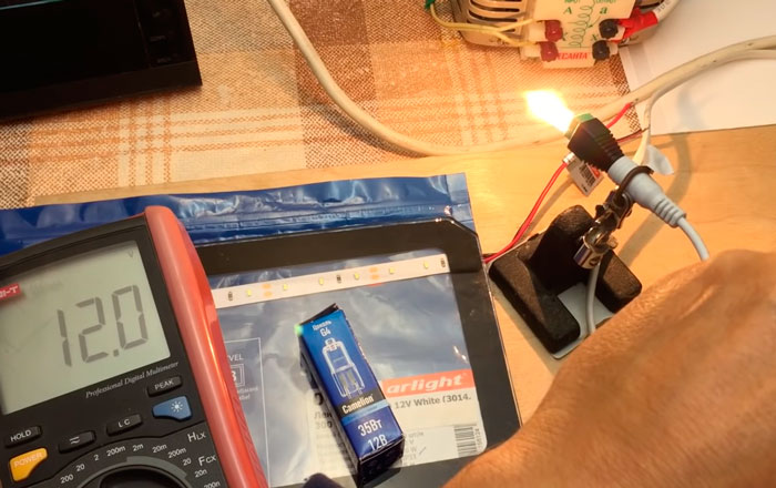 нагрузочный тест на блоке питания светодиодной ленты