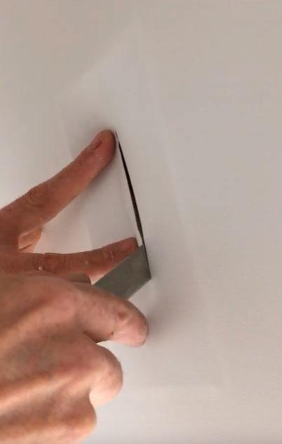 разрезание полотна на потолке