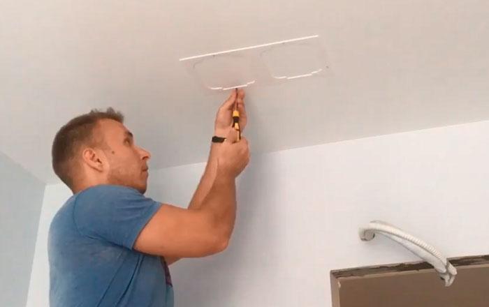 фиксация термокольца для квадратного светильника шурупами