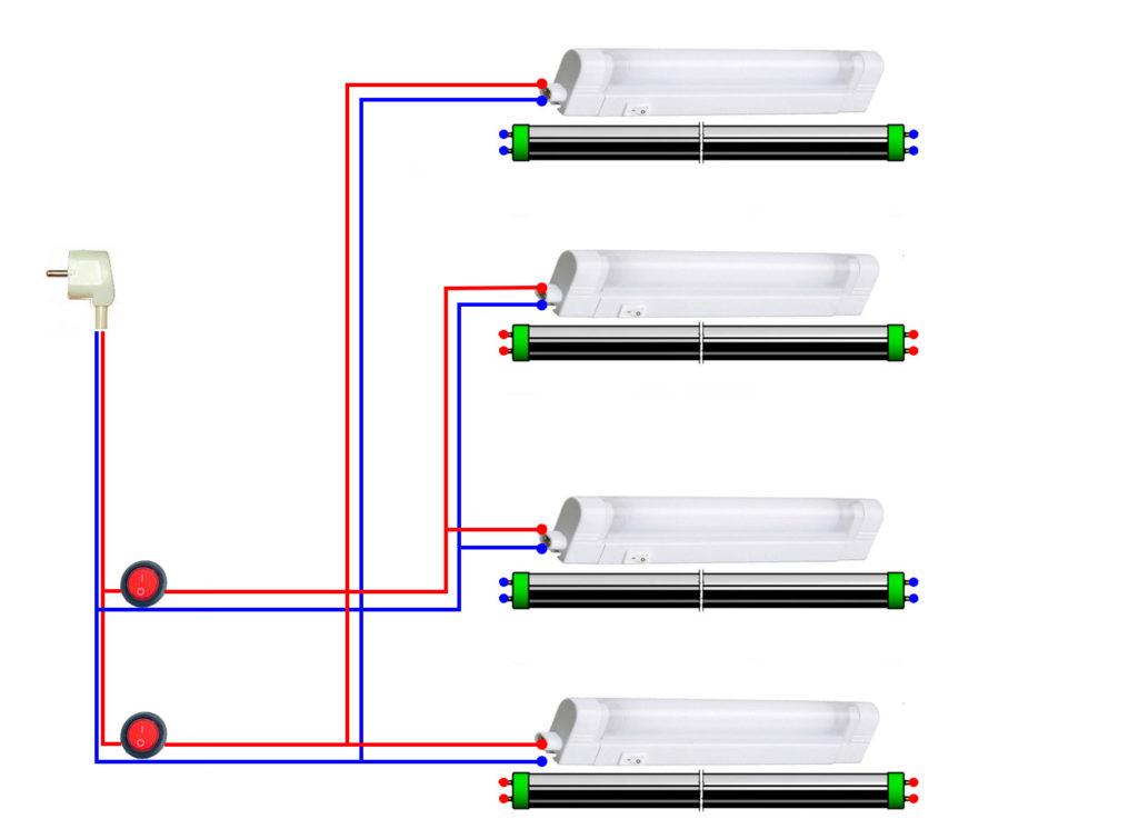 схема освещения аквариума со светильниками дневного света трубки Т8, Т5