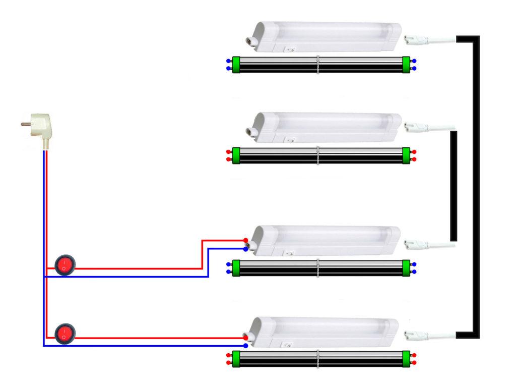 простая схема подключения освещения аквариума на люминесцентных светильниках лпо и светодиодных лампах