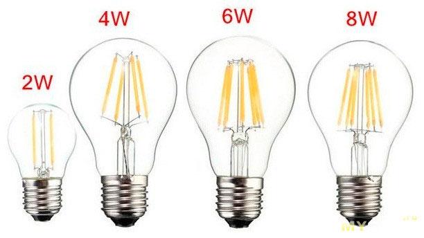 как определить мощность филаментной лампы