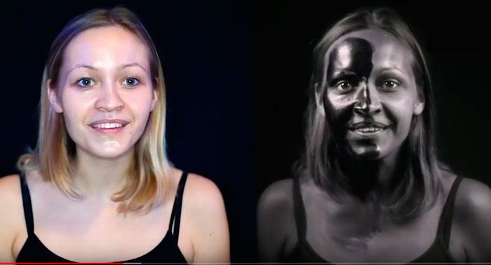 лицо человека под УФ лучами с намазанным солнцезащитным кремом