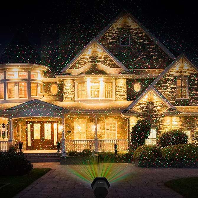 новогодний лазерный проектор для подсветки фасада
