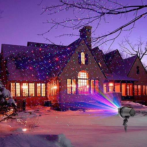 подсветка дом лазерным рождественским проектором