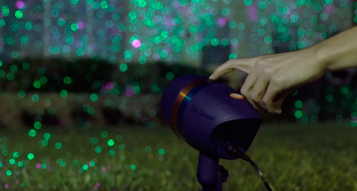 кнопки управления на корпусе лазерного новогоднего проектора