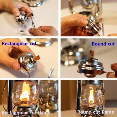 как правильно обрезать фитиль для керосиновой лампы