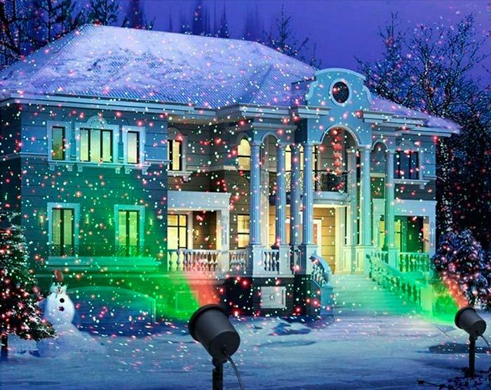когда для подсветки фасада требуется два лазерных проектора
