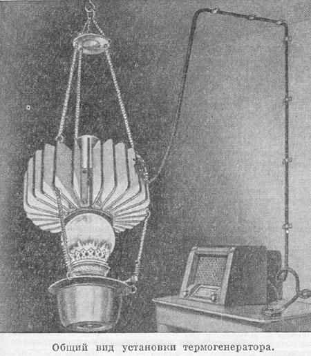 термогенератор ТГК-3 как керосиновая лампа дает электричество