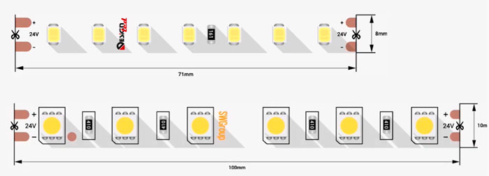 кратность резки светодиодной ленты 24 вольт 10см