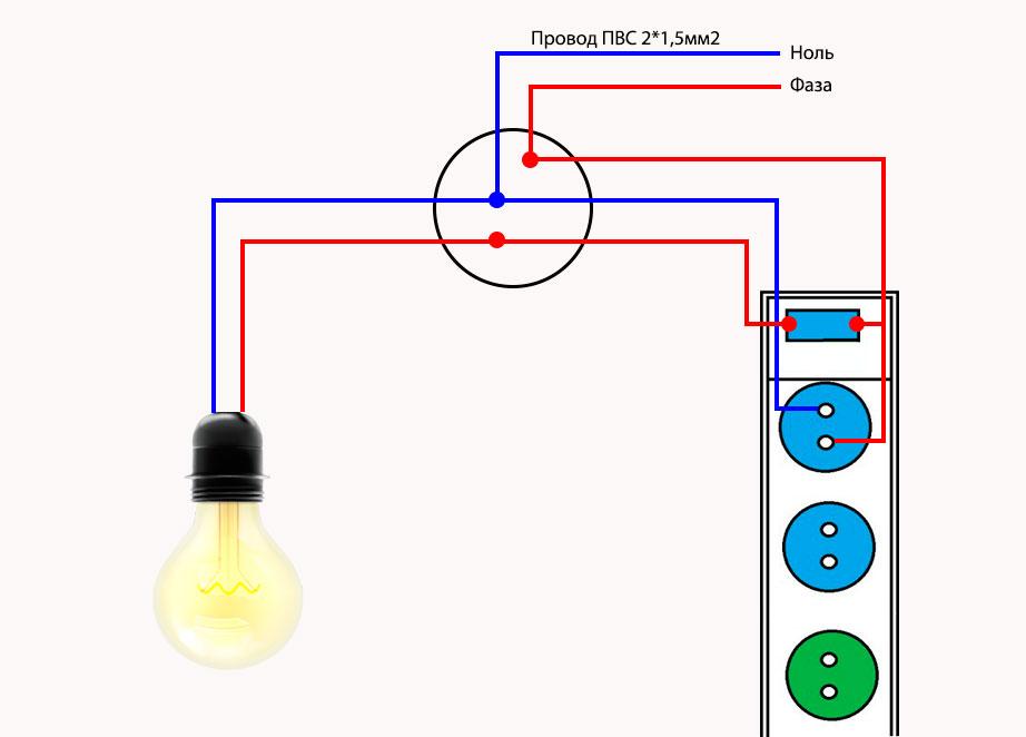 схема подключения блока розеток с выключателем для временного освещения