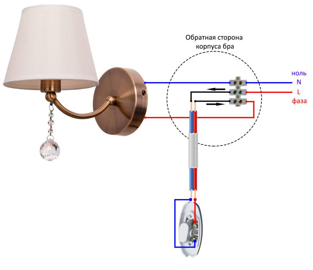 схема подключения бра через выключатель на шнуре в проводке