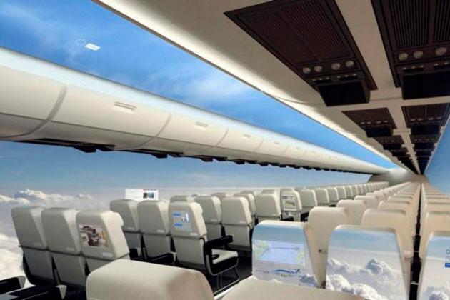 самолет без окон с панелями в салоне