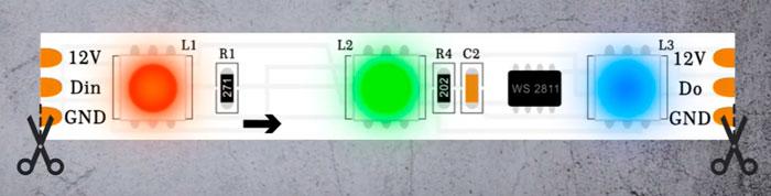 адресная лента с внешней микросхемой