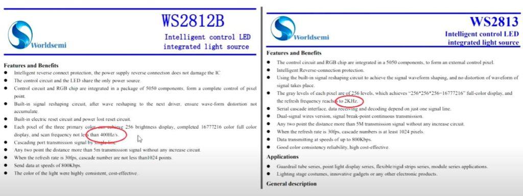 частота регенерации у лент ws2812 и ws2813