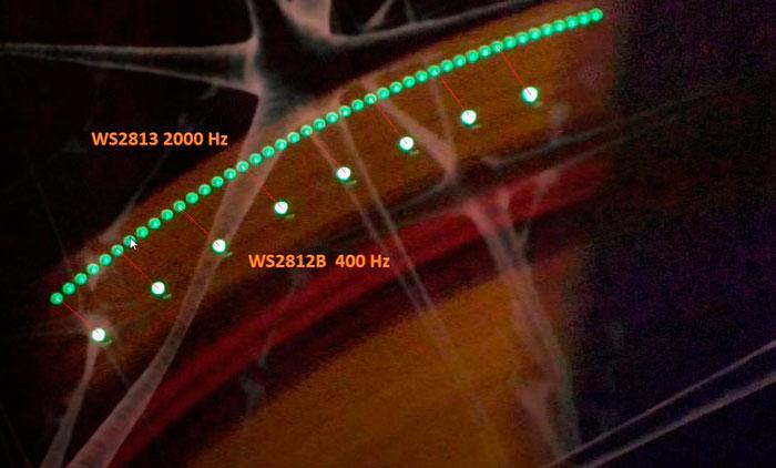 отличие при свечении адресной ленты ws2812b и ws2813