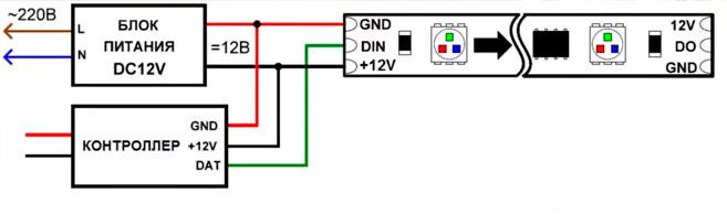 схема подключения адресной светодиодной ленты
