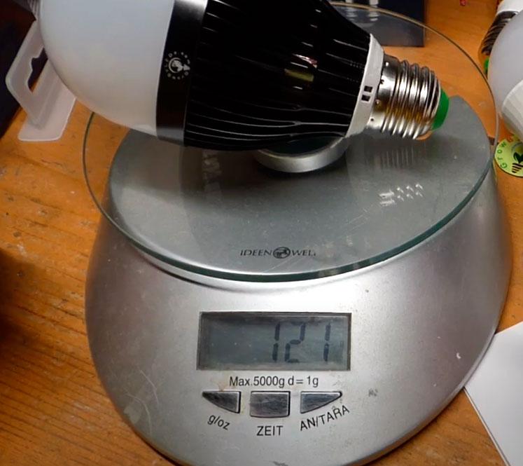 вес светодиодной лампочки