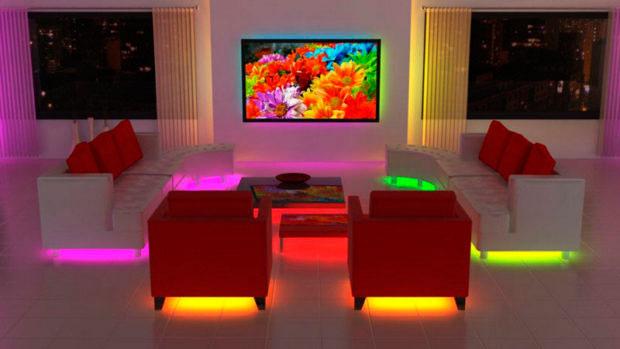 светодиодная лента и эффект парящей мебели