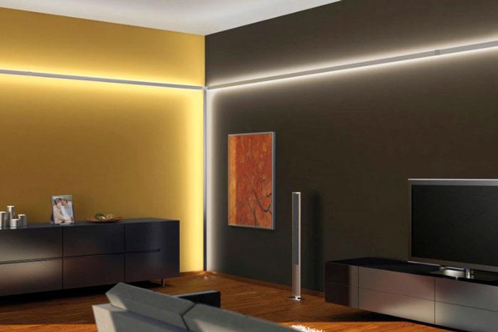 светодиодная лента в углу стены