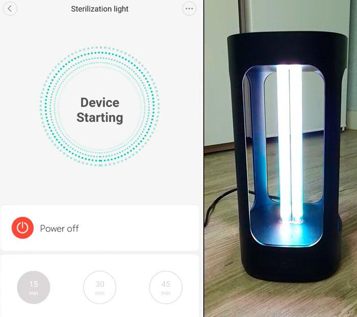 запуск ультрафиолетовой лампы xiaomi five со смартфона