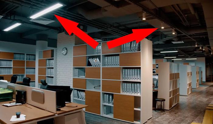 выделение рабочей зоны в офисе светом
