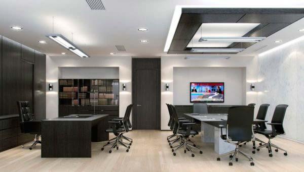 подвесные светильники в офисе