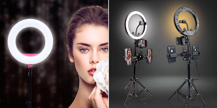 применение кольцевой светодиодной лампы