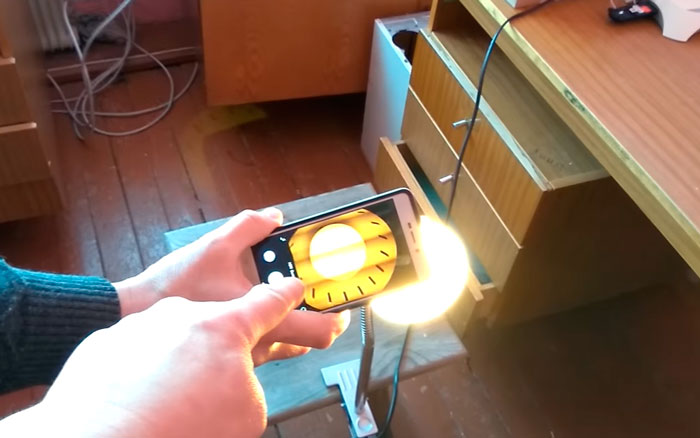 проверка пульсаций светодиодной лампочки через смартфон