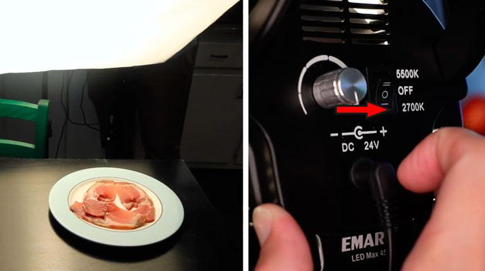 наглядная разница цвета мяса при разном освещении
