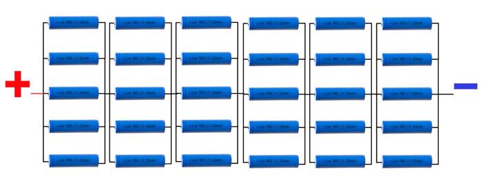 схема подключения аккумуляторов 18650 в сборке АКБ