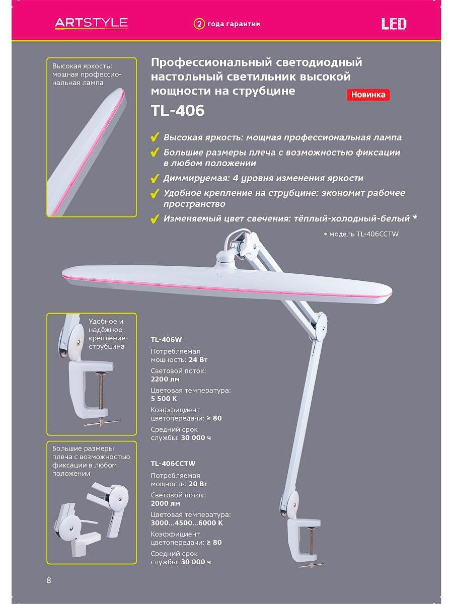 мощная лампа Artstyle для подсветки при наращивании ресниц характеристики