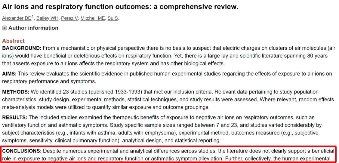 воздействие отрицательных ионов на здоровье не доказано