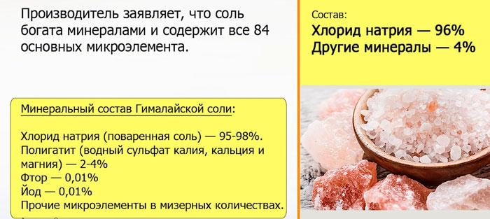 состав гималайской и поваренной соли