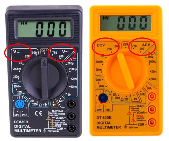 измерение постоянного и переменного напряжения на мультиметре
