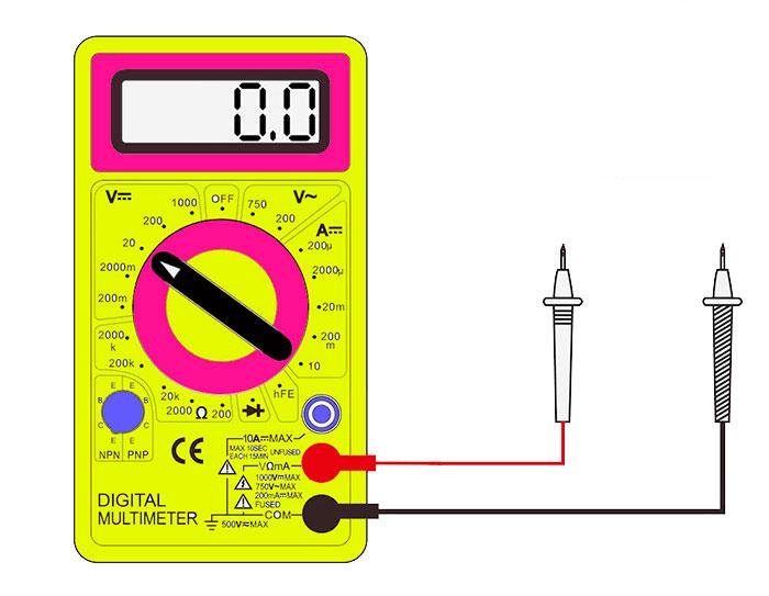 положение щупов на мультиметре при измерении постоянного напряжения