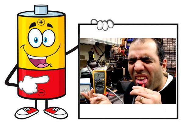 проверка заряда батарейки языком
