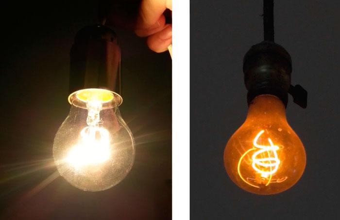 обычная лампочка и вечная лампочка в пожарной части сша