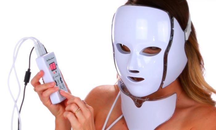 лед маска с проводами и аккумулятором